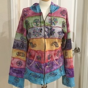 missing Jackets & Coats - 100% cotton zip up hooded jacket rainbow colored.
